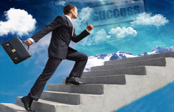 Results Business Management home page pic of financial management walking up concrete stairs through the clouds.